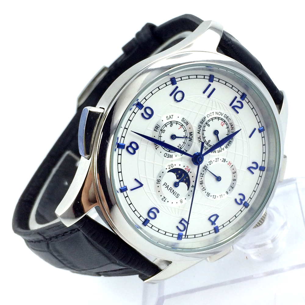 44mm parnis white dial blue marks Moon Phase multifunction automatic mens watch все цены