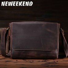 8053.Vintage Style Full leather flap cover Crazy Horse Genuine Leather Shoulder Bag for men small size classic real bag