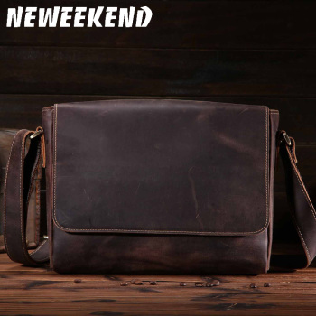 NEWEEKEND Retro Genuine Leather Cowhide Crazy Horse Messenger Shoulder Crossbody iPad Bag for Man 8053