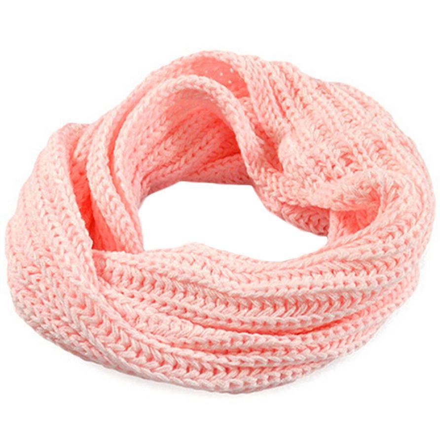 Осенне-зимний вязаный шерстяной шарф-шаль для мальчиков и девочек, теплый зимний шарф с воротником, Прямая поставка - Цвет: pink
