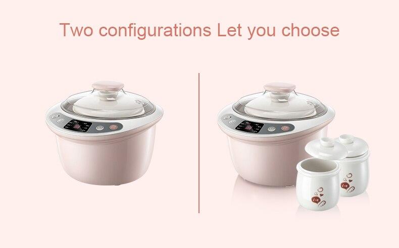 DMWD интеллектуальная Медленная Плита, электрическая Пароварка для приготовления пищи, 3 лайнера, 1.8л, керамическая многофункциональная суповая кастрюли для каши