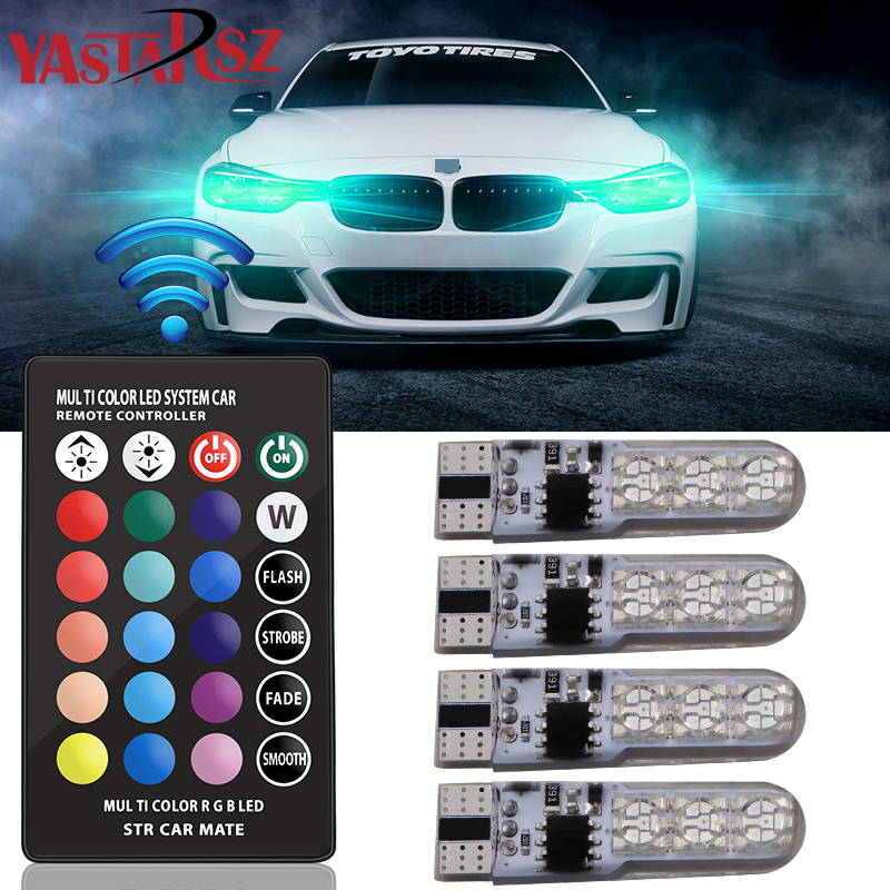 4pcs Car RGB LED 12V T10 W5W LED RGB 5050 SMD Signal Lamp Reading Wedge Light Car Interior Decorative Lights Remote Car styling t10 2 5w 250lm 560 590nm smd 5050 13 leds yellow led car instrument light door lamp trunk lamp dc 12v