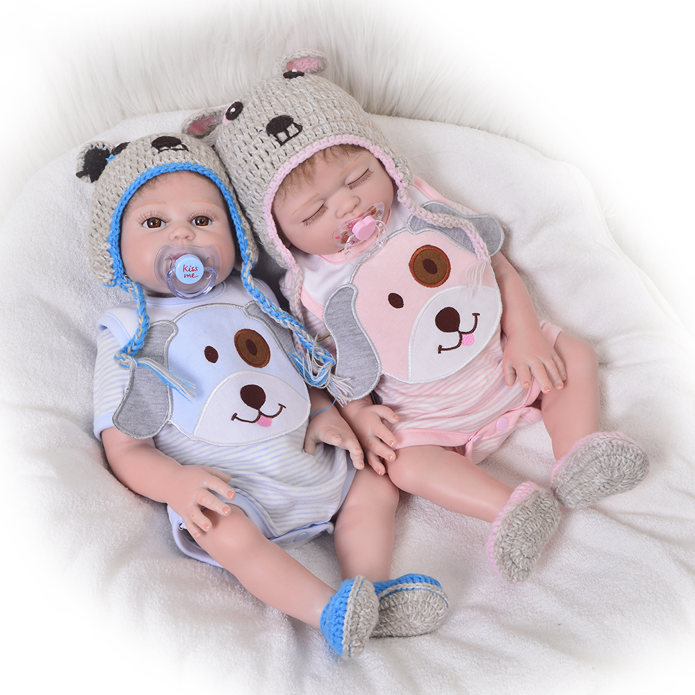 Newborn Doll 20 Inch Reborn Twins Doll Realistic Full Body Silicone 50cm Sleeping Girl And Awake Boy Baby Toy Doll Kid Xmas Gift цена