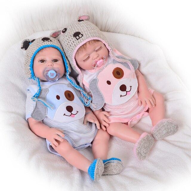 deb10d0ea860 Newborn Doll 20 Inch Reborn Twins Doll Realistic Full Body Silicone ...