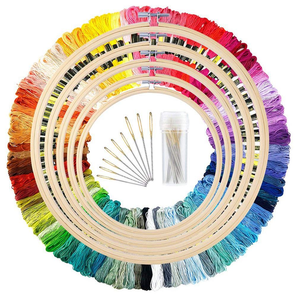 oneroom 5 Pieces Bamboo Embroidery Hoops with 100 Colors Skeins Embroidery Thread Floss Cross Stitch and Needlesoneroom 5 Pieces Bamboo Embroidery Hoops with 100 Colors Skeins Embroidery Thread Floss Cross Stitch and Needles
