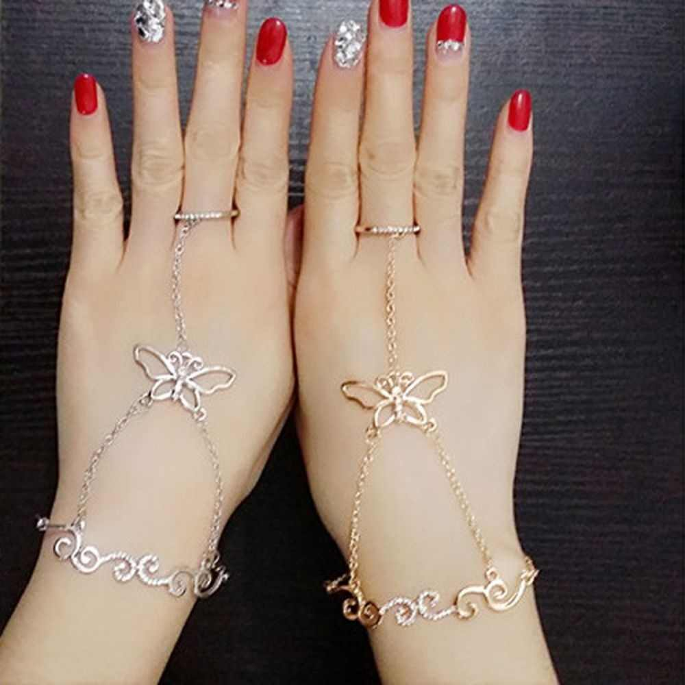 Fashion Crystal Butterfly Design Slave Chain Link Finger Hand Harness Gold Silver Bracelet Fashion Women Gift New