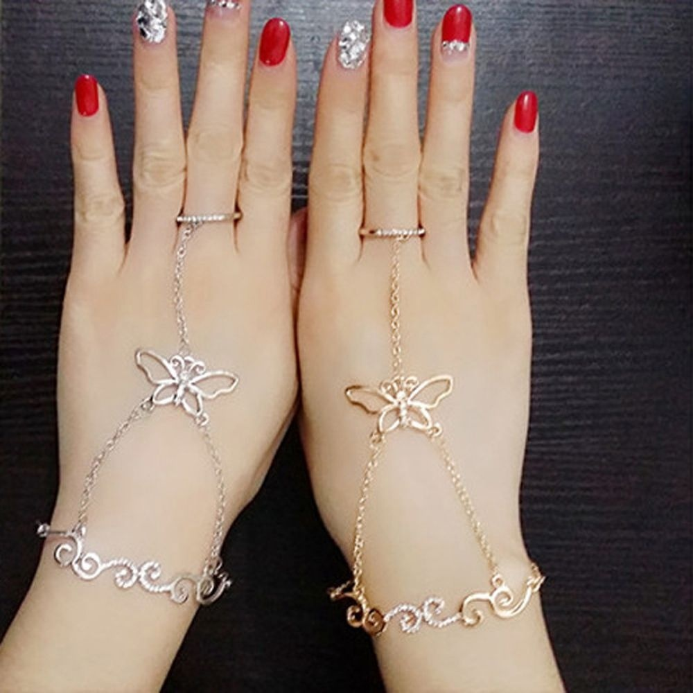Fashion Butterfly Design Slave Chain Link Finger Ring Hand Harness Bracelet Women Gift New