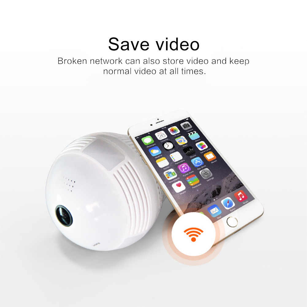 New Led Bulb Lamp Wireless IP Camera Wifi 960P Panoramic FishEye Home Security CCTV Camera 360 Degree Night Vision Support 128GB
