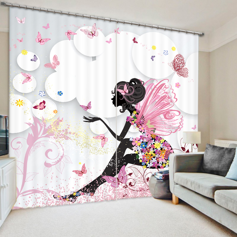 Rideaux d'impression 3D de fille de papillon pour le rideau de parasol de luxe de Textile à la maison adaptent la taille