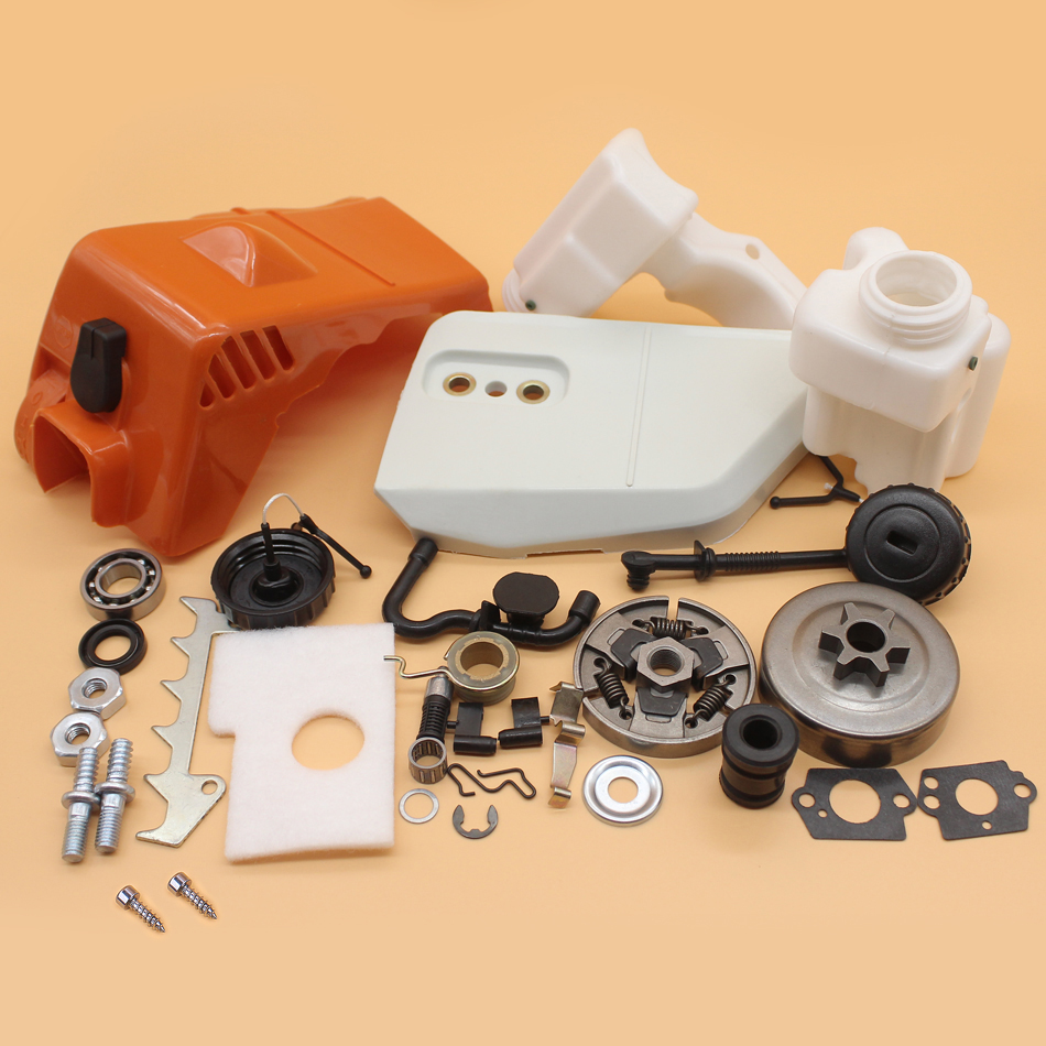 Tools : Top Cylinder Sprocket Cover Clutch Drum Fuel Oil Tank Kit For STIHL MS170 MS180 017 018 MS 180 170 Chainsaw Replacement Parts