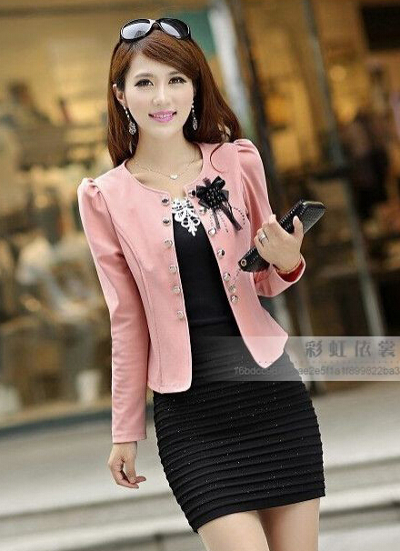 2015 spring autumn women's short jacket slim girl plus size ...