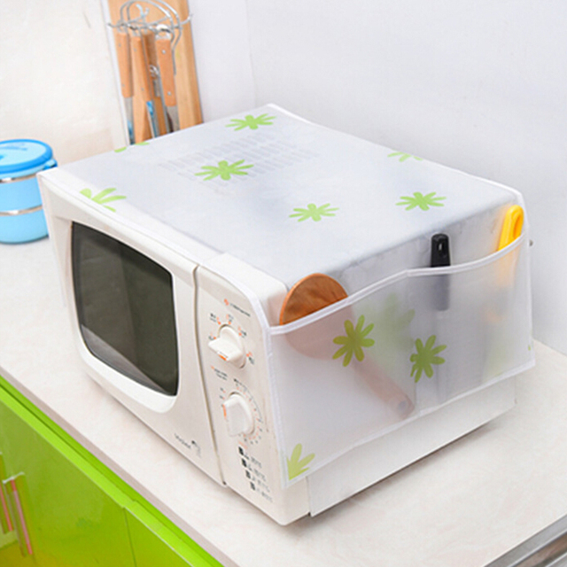 Microwave Oven Cover With 2 Pouch Dustproof Waterproof Colorful Peva Material Cloth Style Storage