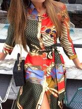 Summer Women Vacation Elegant Leisure Casual Asymmetrical Midi Dress Female Stylish Mixed Print Button Up Shirt Dress недорого