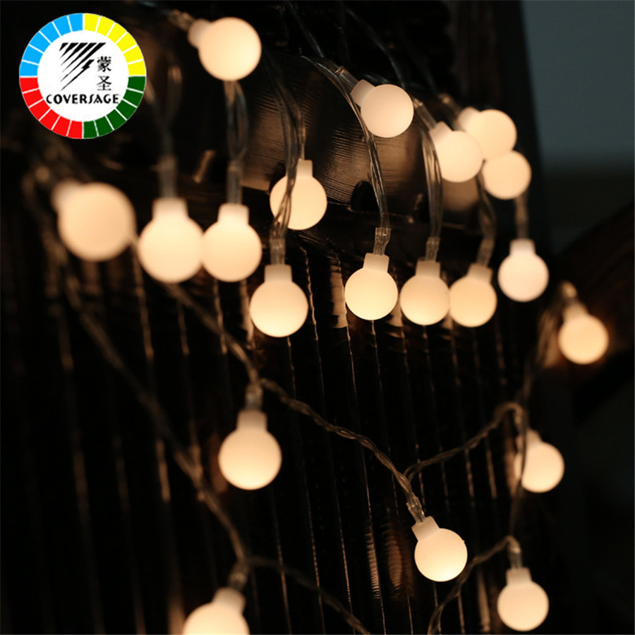 Coversage 5M 50 Led Battery Christmas Tree Garland String Xmas Indoor Outdoor Ball Curtain Navidad Curtain Fairy Holiday Lights