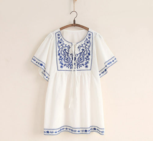 Hot Sale White Women Ethnic Embroidered Boho Hippie Peasant Mexican Loose  Gypsy Blouse Tops Free Size Free Shipping-in Dresses from Women's Clothing  ...