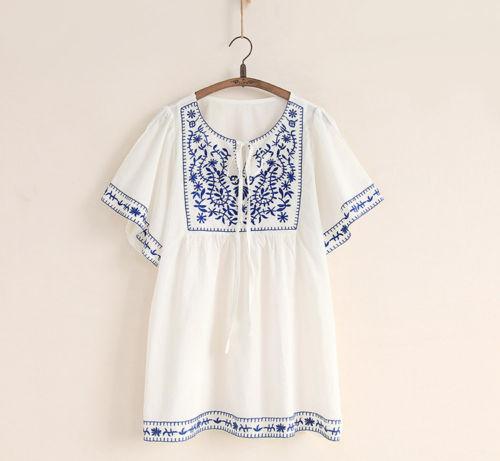 Venta caliente blanco mujeres étnico bordado campesino mexican suelta gypsy boho hippie blusa tops free size envío gratis