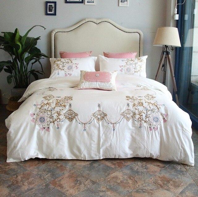 100 Egypt Cotton White Embroidery Luxury Oriental Bedding Set King