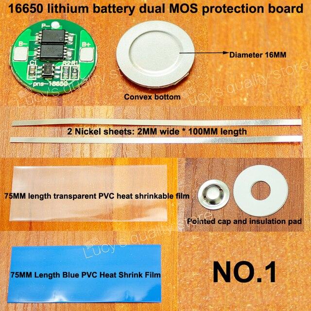 1 ensemble 16650 batterie au lithium double MOS protection conseil ensemble avec feuille de nickel 16650 batterie 4.2V protection conseil diamètre 16MM