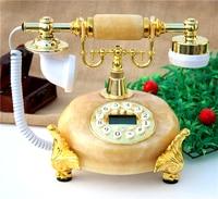 Retro high-grade antique telephone European natural jade old villa home telephone technology Decoration home classical phone