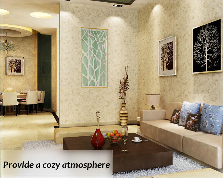 Cream / Off white Wallpaper Wall Covering Wall paper Roll Non woven ...