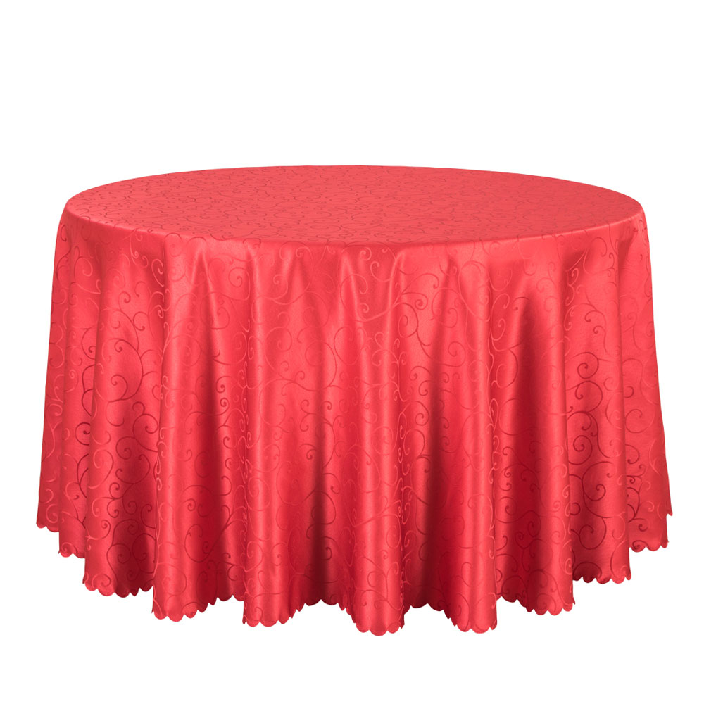 wholesale big size polyester wedding tablecloth jacquard red round table cloth hotel dining table cover decor