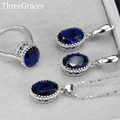 Fashion Cubic Zirconia Crystal Jewelry Oval Cut Royal Blue 925 Sterling Silver Ring Necklace And Earrings Set For Women JS197