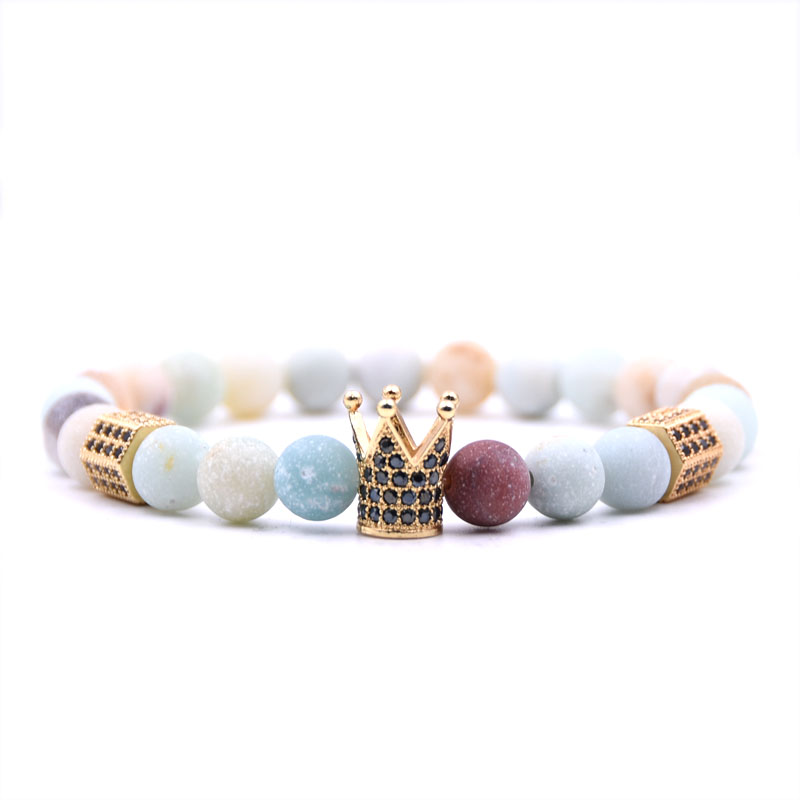 8mm Dazzling Natural Amazon Stone bracelets High quality 4 colors Crown Men's bracelets Beads Bracelet For Women Men
