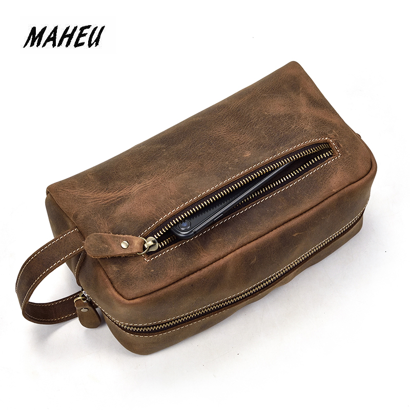 MAHEU Casual Mens Leather Clutch Wallet Long Handbag Genuine Leather Unisex Zipper Hand Clutch Bag Wash Storage BagMAHEU Casual Mens Leather Clutch Wallet Long Handbag Genuine Leather Unisex Zipper Hand Clutch Bag Wash Storage Bag