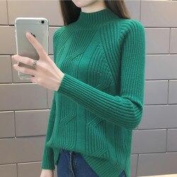 2018 Women Winter Sweater Autumn Half Turtleneck Pullovers Lady Sweaters Basic Female Knit Sweater Long Sleeve Jumper Tops Z19 1