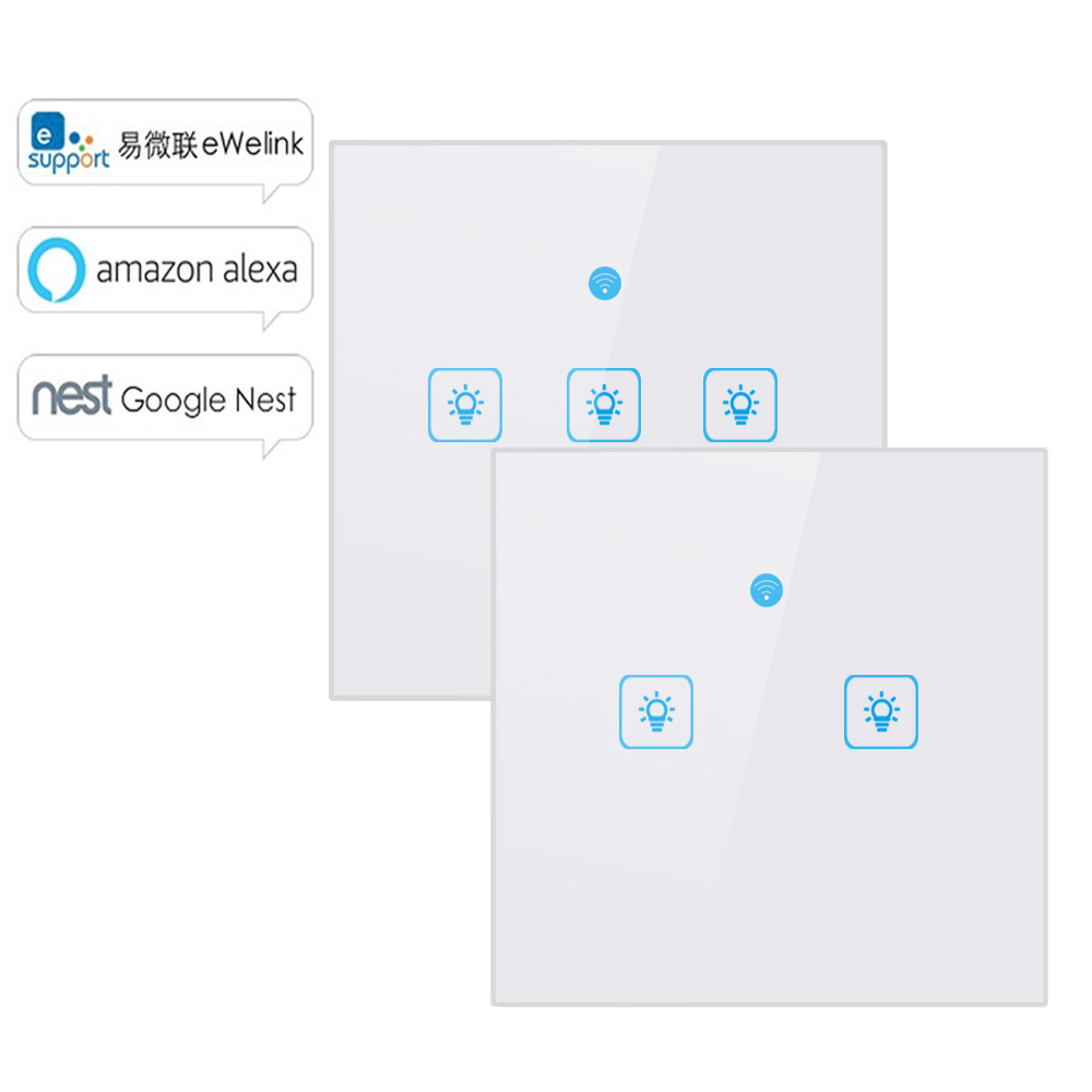 WS WiFi  APP/ Touch Control Wall Light Switch 1/2/3 Gang Panel Wall Touch Light Switch Smart google Home with Alexa-in Home Automation Modules from Consumer Electronics