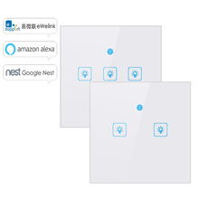 WS WiFi  APP/ Touch Control Wall Light Switch 1/2/3 Gang Panel Wall Touch Light Switch Smart google Home with Alexa eu wifi smart 3 gang wall light switch white panel touch screen sensor switch for amazon alexa google home timer app function s3