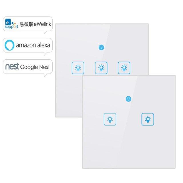 WS WiFi APP/interruptor de luz de pared de Control táctil 1/2/3 interruptor de luz táctil de pared del Panel inteligente google casa con Alexa.