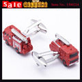 2017 Enamel Brass Shirts Gemelos Red Fire Fighting Truck Cufflink Car Novelty Make Custom Paint Cuff Links for Man Jewelry Gift