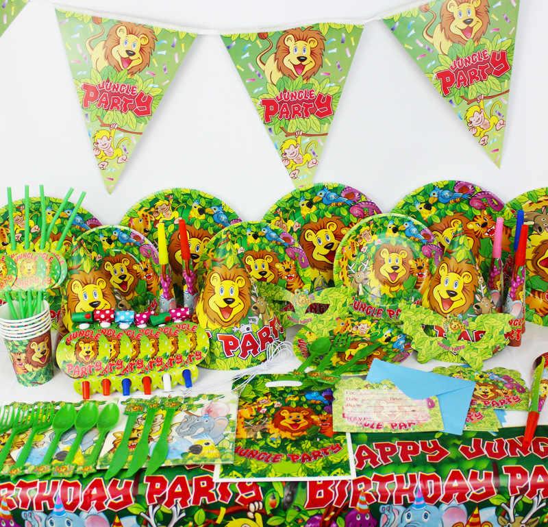 Rừng Rậm Chủ Đề động vật Bộ Đồ Ăn Sinh Nhật Trang Trí Trẻ Em đĩa Ly Khăn Ăn nón Khăn Trải Bàn Cờ Ống Hút Dự Tiệc Cung Cấp