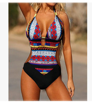 Zenicham Bohemia Women S Print Bikini Set Red And Blue Cross Sportswear One Piece Wire Free