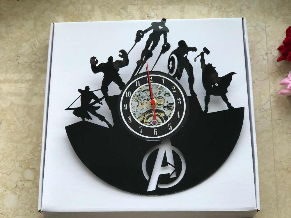 O Envio gratuito de 1 Peça de Super-heróis Vingador Capitão América Marvel Guerra Civil Vinil Relógio de Parede Relógio de Parede Artesanal Corte Lase