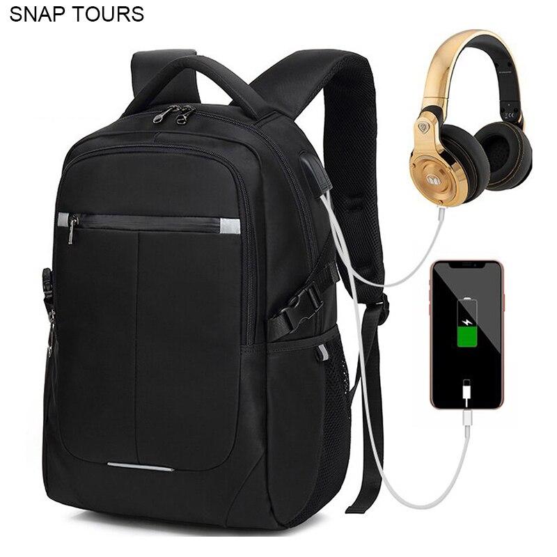 SNAP TOURS 2019 USB charge voyage sac à dos homme mode urbain sac à dos pour ordinateur portable pour hommes grand espace noir sac à dos-in Sacs à dos from Baggages et sacs    1