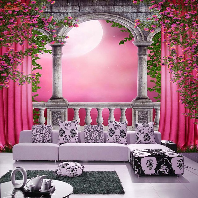 Arched Door Pink Curtain Room Wall Paper Glitter Wallpaper For Walls Livingroom Vintage Decal