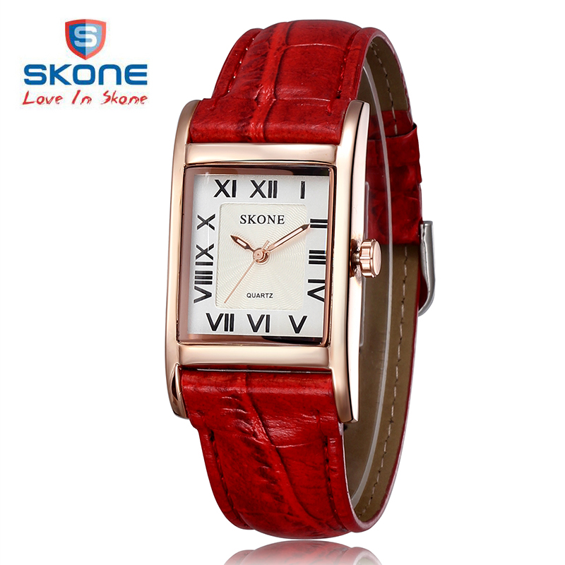 SKONE Brand Roman Number Square Dial Watches Women Luxury Top Quality Fashion Casual Quartz Watch Leather Wristwatches Relojes 2016 brand kimio watch women ladies luxury brand fashion casual orange genuine leather watch band square blue dial wristwatches