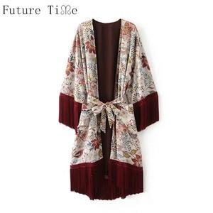 Будущее время кимоно кардиган Для женщин кисточкой Шифоновая блузка с модным принтом Куртки женский Винтаж Пальто для будущих мам пояс вер...