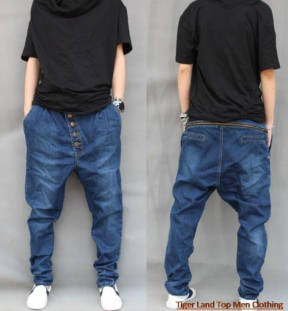 26686ee66c86ef US $43.67 |plus size harem jeans men baggy pants drop crotch pants denim  hip hop dance trousers pantalones hombre calca saruel femme-in Jeans from  ...