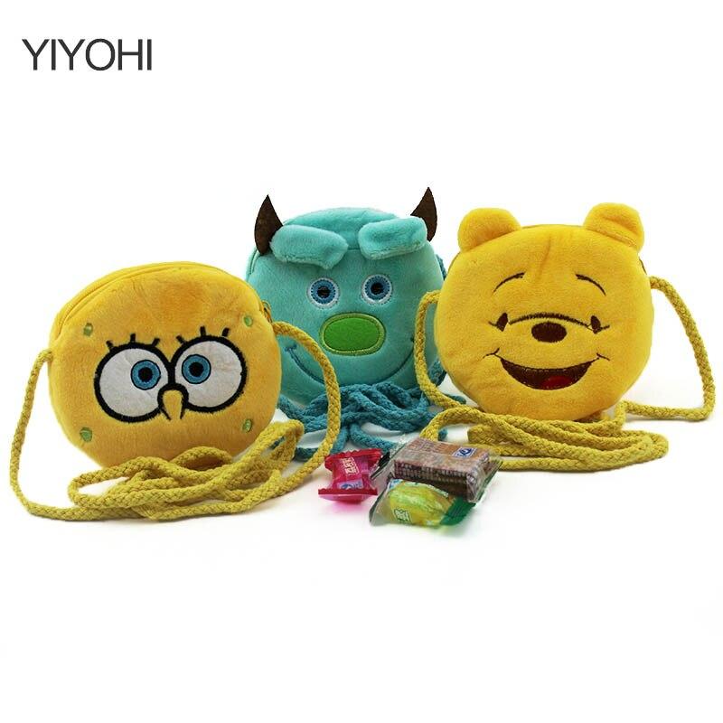 YIYOHI New 2017 Girls Mini Messenger Bag Cute Plush Cartoon Boys Small Coin Purses Children Handbags Kids Shoulder Mini Bags