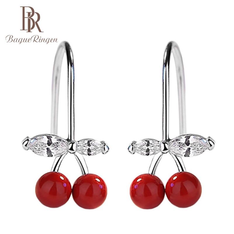 Begua Ringen 925 Sterling Silver Summer Cherry Earrings For Women Sweet Cute Korean Girls Earring Personality Gift