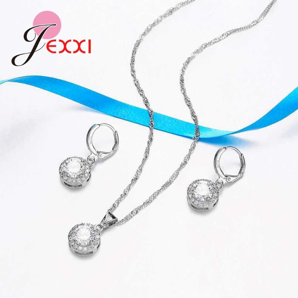 OL Stilvolle Dame Halskette Ohrringe Set Für Frauen Mode Schmuck 925 Sterling Silber Klassische Design Strass Braut Jahrestag