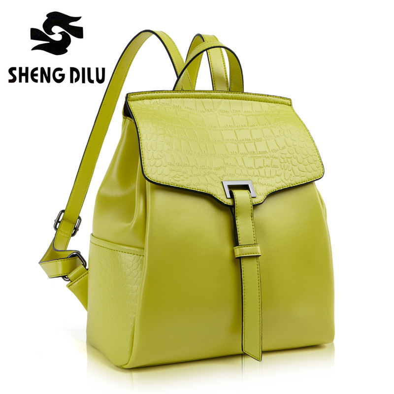 Korean 2016 new Embossed Crocodile Pattern Candy Color Women Genuine  Leather shoulder bag mochila feminina Backpack Female 2018 yuanyu 2016 new women crocodile bag women clutches leather bag female crocodile grain long hand bag