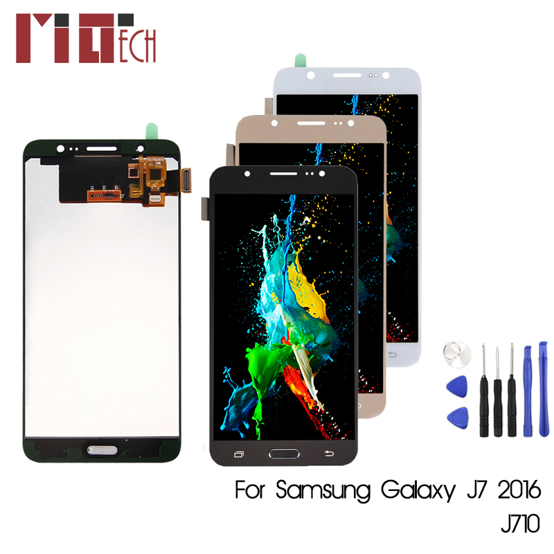 TFT Für Samsung Galaxy J7 2016 J710 <font><b>J710F</b></font> J710M J710FN <font><b>LCD</b></font> Display Touchscreen Digitizer Montage Einstellbare Helligkeit image