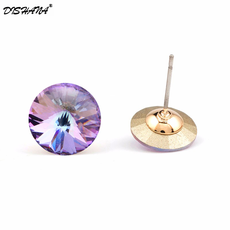 2017 Fashion Jewelry Earrings untuk Wanita Putaran Stud Earings Putih Cubic Zircon Earrings Pendientes Mujer Moda Studs ...
