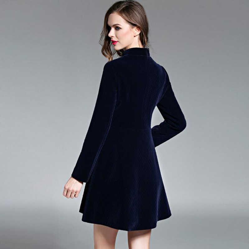 bcf737f148e06 Autumn Vintage Elegant Black Velvet Dresses Winter Dresses Thickening  Thermal Basic Dress Long Sleeve Casual Dresses For Women