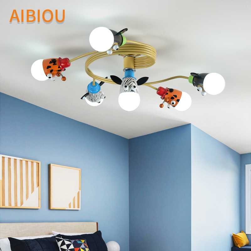 Us 118 8 40 Off Aibiou Colorful Cartoon Led Ceiling Lights For Bedroom Kids Lamp E27 Surface Mounted Children Lamps Cute Boys Luminaire In