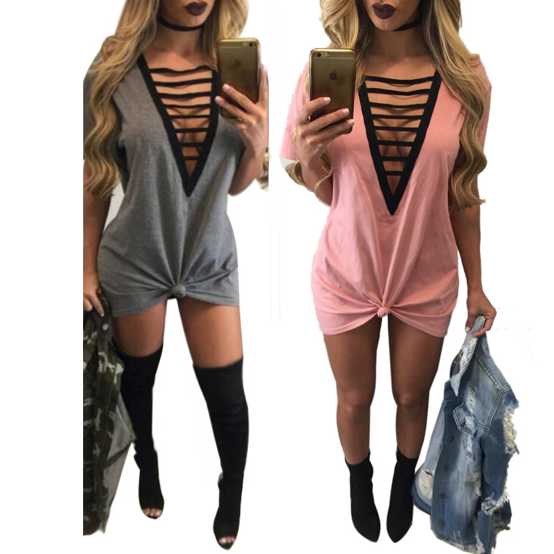 7ac6f148940 2017 summer women t shirt mini tie up casual dress pink gray sexy club  tshirt tops tee big size bodycon party dress Y1119 34E-in Dresses from  Women s ...